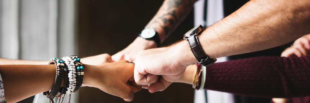 Underarmar och knytnävar från kvinnor och män möts i mitten av bilden och symboliserar Pivogos möjlighet att stärka team och vara ett ledningsstöd